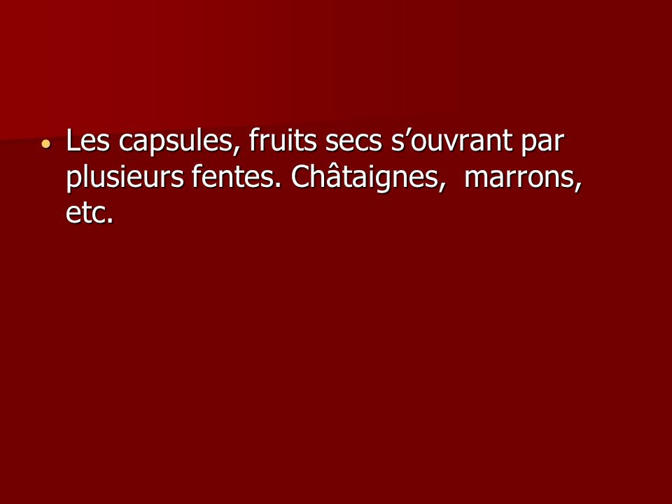 Les capsules, fruits secs souvrant par plusieurs fentes. Châtaignes, marrons, etc. Les capsules, fruits secs souvrant par plusieurs fentes. Châtaignes