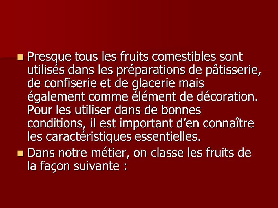 Presque tous les fruits comestibles sont utilisés dans les préparations de pâtisserie, de confiserie et de glacerie mais également comme élément de dé