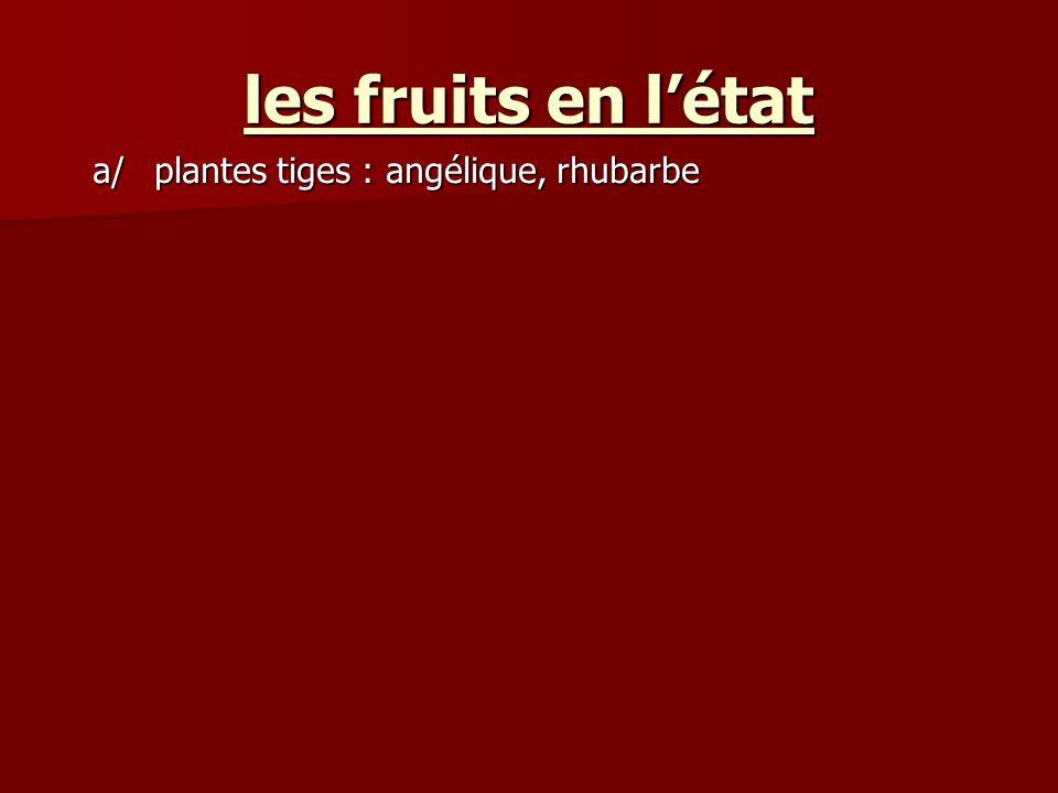 a/plantes tiges : angélique, rhubarbe