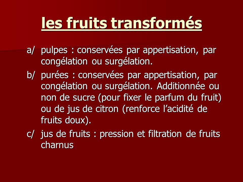 les fruits transformés a/pulpes : conservées par appertisation, par congélation ou surgélation. b/purées : conservées par appertisation, par congélati