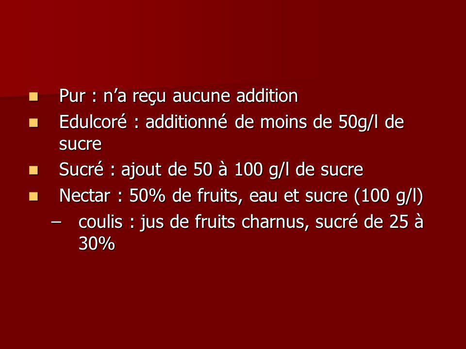 Pur : na reçu aucune addition Pur : na reçu aucune addition Edulcoré : additionné de moins de 50g/l de sucre Edulcoré : additionné de moins de 50g/l d
