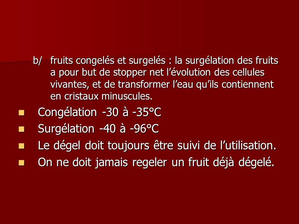 b/fruits congelés et surgelés : la surgélation des fruits a pour but de stopper net lévolution des cellules vivantes, et de transformer leau quils con