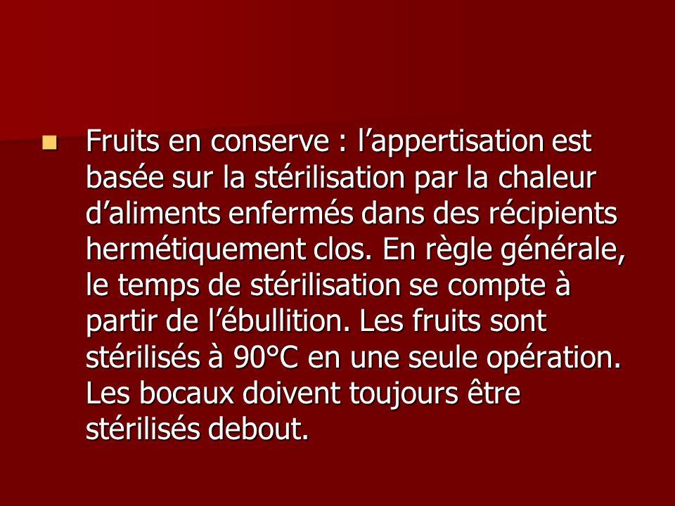 Fruits en conserve : lappertisation est basée sur la stérilisation par la chaleur daliments enfermés dans des récipients hermétiquement clos. En règle