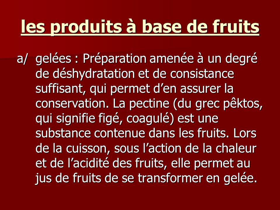 les produits à base de fruits a/gelées : Préparation amenée à un degré de déshydratation et de consistance suffisant, qui permet den assurer la conser
