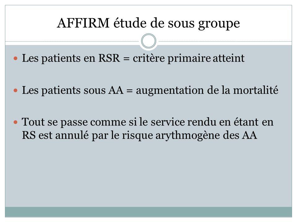 AFFIRM étude de sous groupe Les patients en RSR = critère primaire atteint Les patients sous AA = augmentation de la mortalité Tout se passe comme si