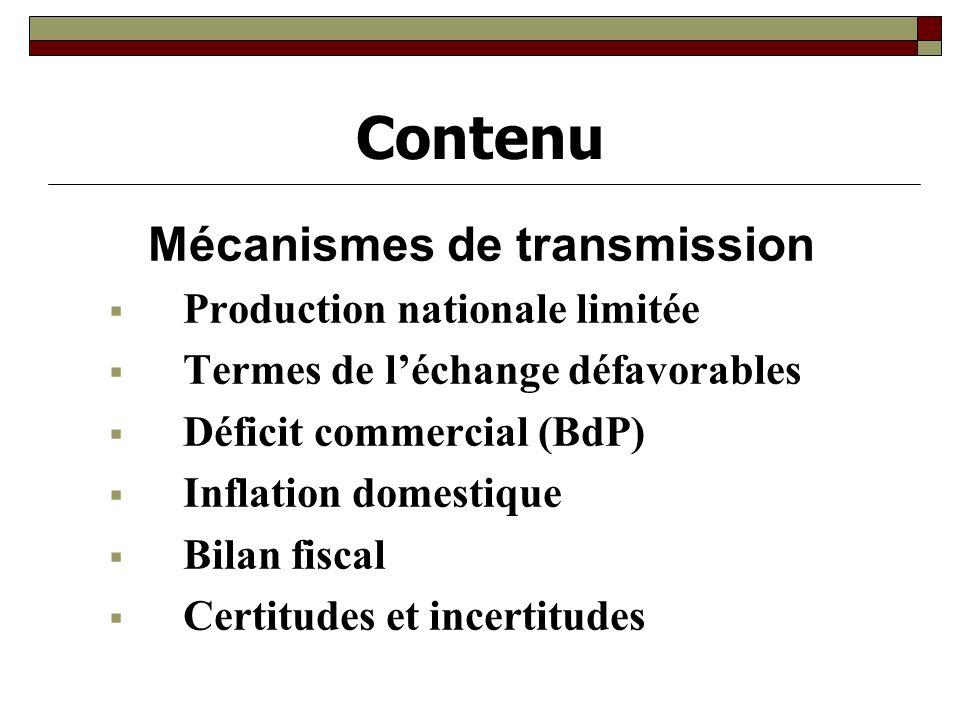 Contenu Mécanismes de transmission Production nationale limitée Termes de léchange défavorables Déficit commercial (BdP) Inflation domestique Bilan fiscal Certitudes et incertitudes
