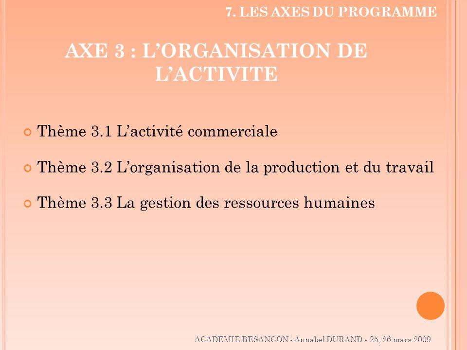 AXE 3 : LORGANISATION DE LACTIVITE Thème 3.1 Lactivité commerciale Thème 3.2 Lorganisation de la production et du travail Thème 3.3 La gestion des res