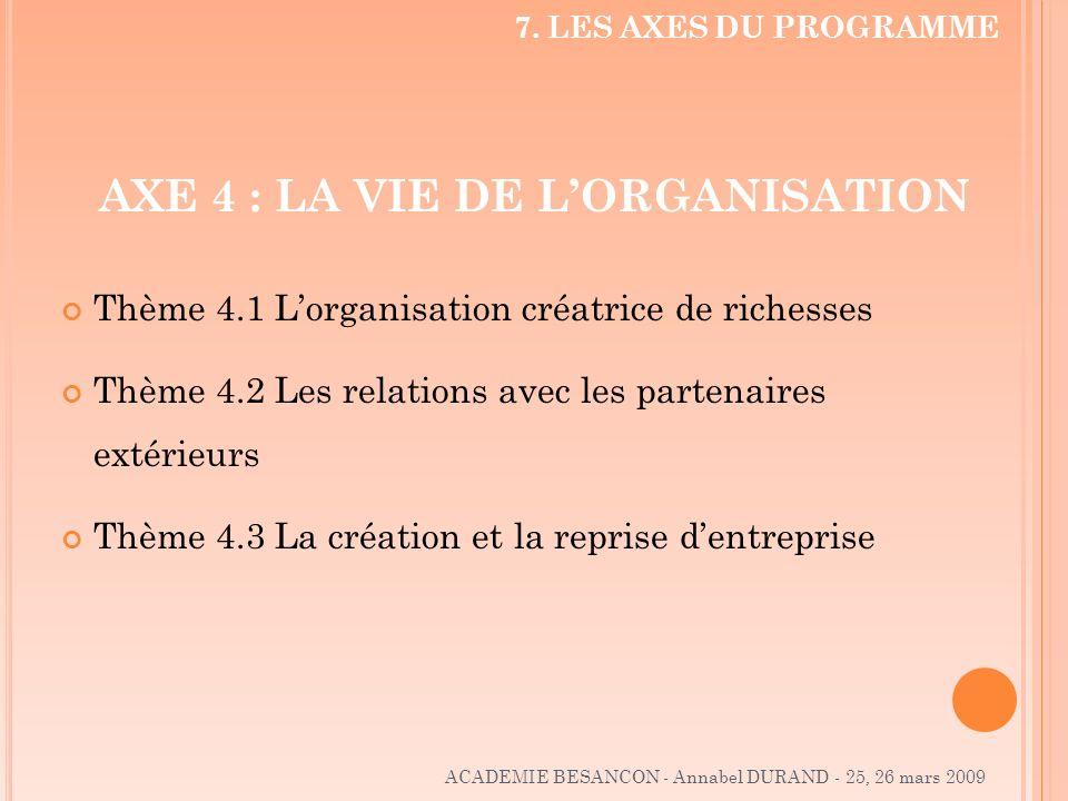 AXE 4 : LA VIE DE LORGANISATION Thème 4.1 Lorganisation créatrice de richesses Thème 4.2 Les relations avec les partenaires extérieurs Thème 4.3 La cr