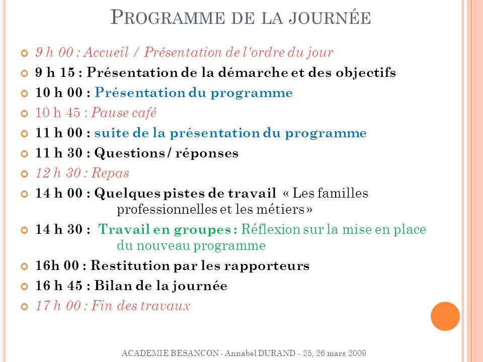 P ROGRAMME DE LA JOURNÉE 9 h 00 : Accueil / Présentation de l'ordre du jour 9 h 15 : Présentation de la démarche et des objectifs 10 h 00 : Présentati