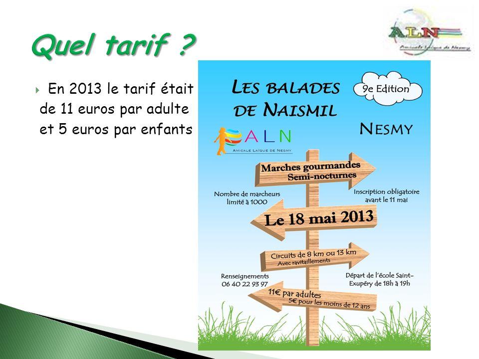 En 2013 le tarif était de 11 euros par adulte et 5 euros par enfants