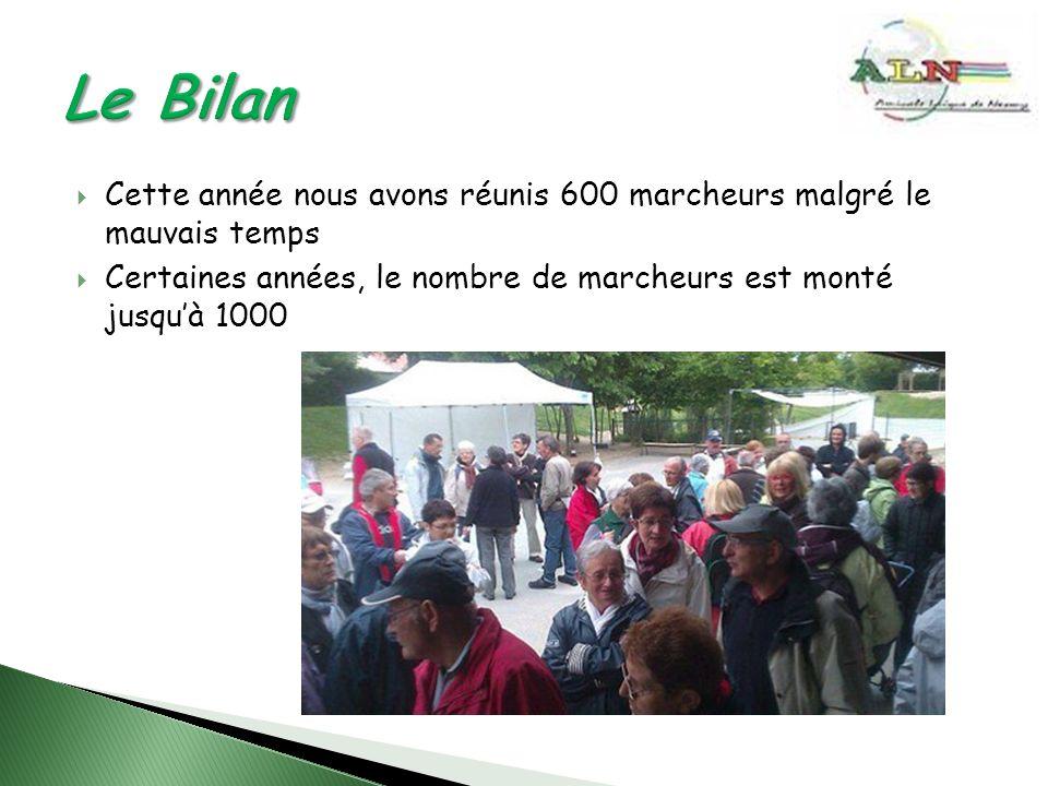 Cette année nous avons réunis 600 marcheurs malgré le mauvais temps Certaines années, le nombre de marcheurs est monté jusquà 1000