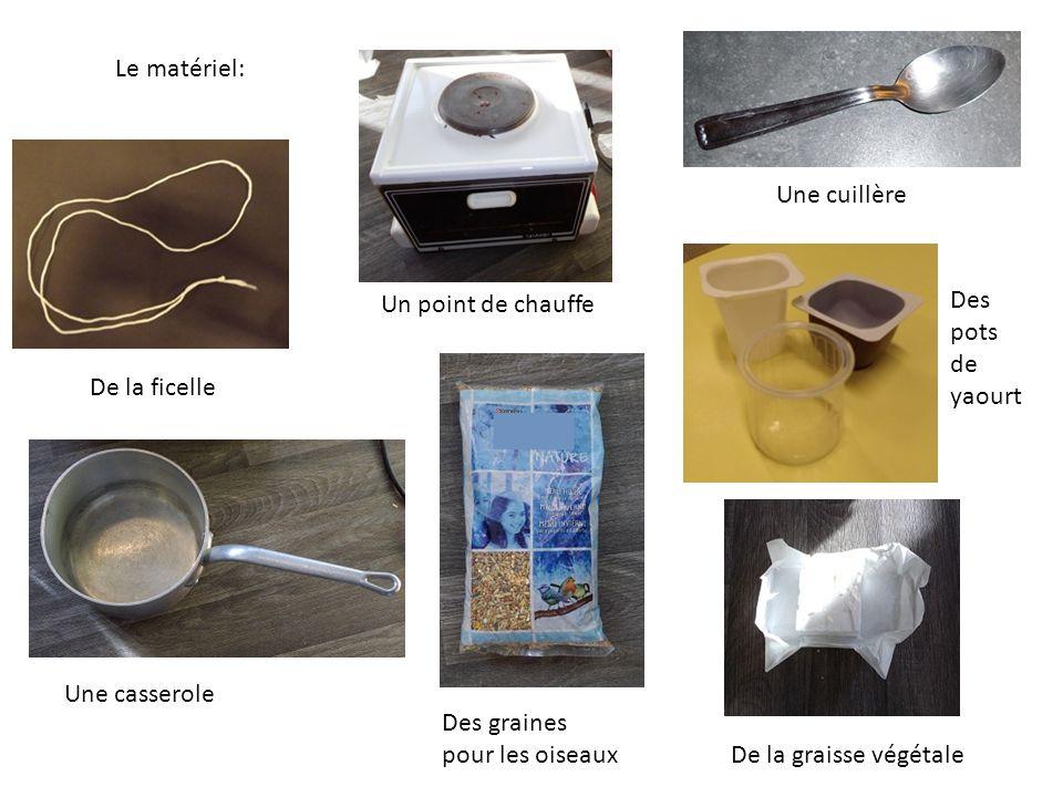 Le matériel: De la ficelle Un point de chauffe Une cuillère Des pots de yaourt De la graisse végétale Des graines pour les oiseaux Une casserole