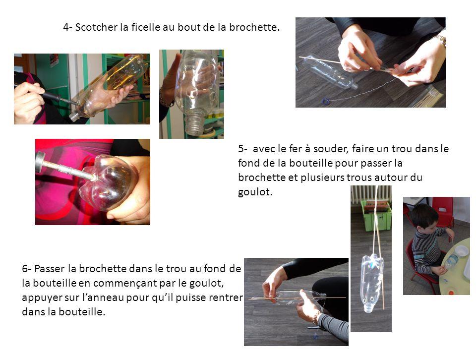 4- Scotcher la ficelle au bout de la brochette. 5- avec le fer à souder, faire un trou dans le fond de la bouteille pour passer la brochette et plusie