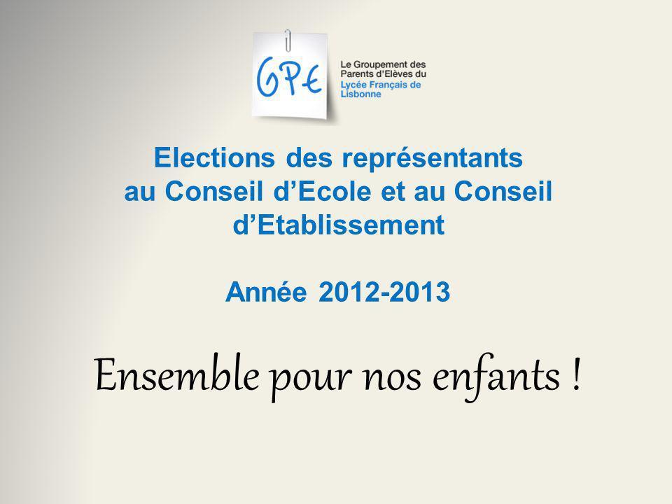 Elections des représentants au Conseil dEcole et au Conseil dEtablissement Année 2012-2013 Ensemble pour nos enfants !