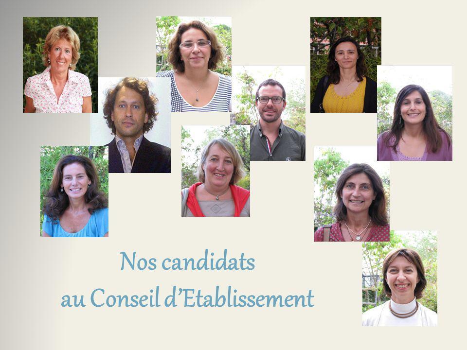 Nos candidats au Conseil dEcole