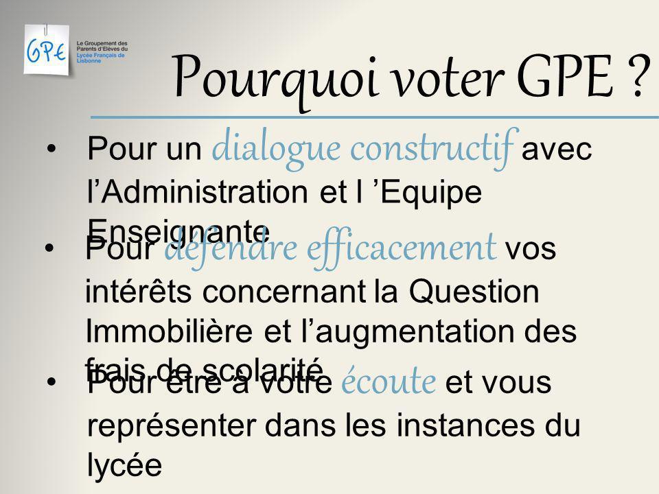 Pourquoi voter GPE .