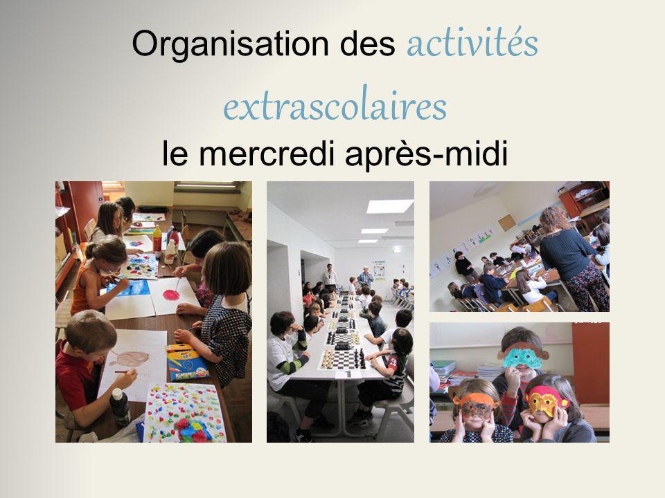 Organisation des activités extrascolaires le mercredi après-midi