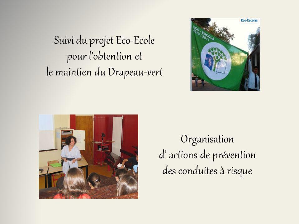 Organisation d actions de prévention des conduites à risque Suivi du projet Eco-Ecole pour lobtention et le maintien du Drapeau-vert