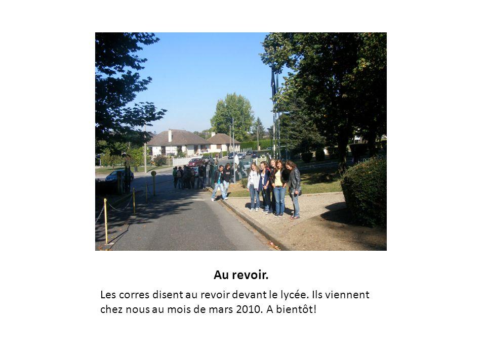 Au revoir. Les corres disent au revoir devant le lycée. Ils viennent chez nous au mois de mars 2010. A bientôt!