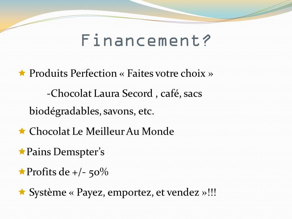 Financement? Produits Perfection « Faites votre choix » -Chocolat Laura Secord, café, sacs biodégradables, savons, etc. Chocolat Le Meilleur Au Monde