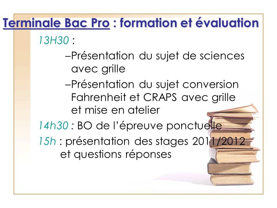 13H30 : –Présentation du sujet de sciences avec grille –Présentation du sujet conversion Fahrenheit et CRAPS avec grille et mise en atelier 14h30 : BO