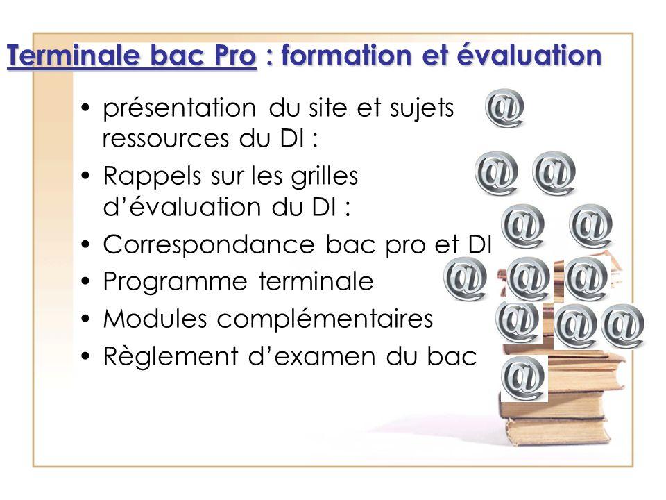 présentation du site et sujets ressources du DI : Rappels sur les grilles dévaluation du DI : Correspondance bac pro et DI Programme terminale Modules