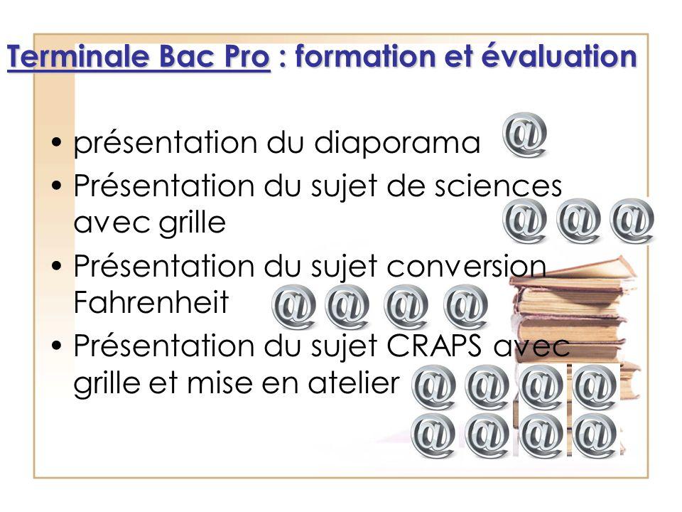 présentation du diaporama Présentation du sujet de sciences avec grille Présentation du sujet conversion Fahrenheit Présentation du sujet CRAPS avec g