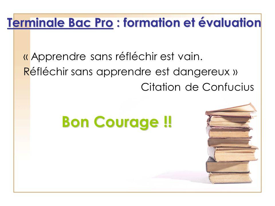 « Apprendre sans réfléchir est vain. Réfléchir sans apprendre est dangereux » Citation de Confucius Bon Courage !! Terminale Bac Pro : formation et év