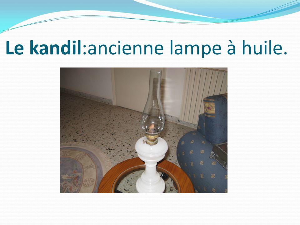Le kandil:ancienne lampe à huile.