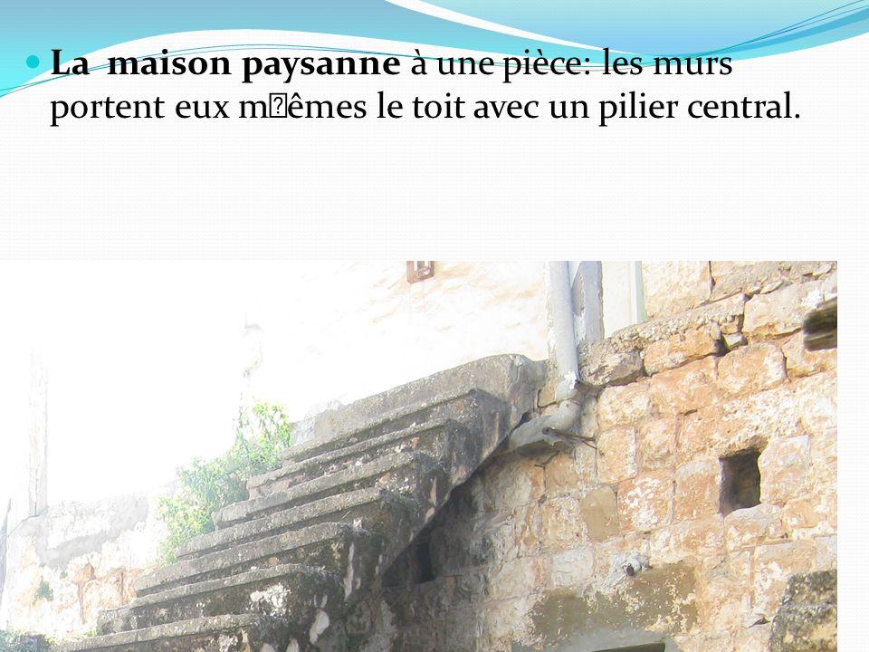 La maison paysanne à une pièce: les murs portent eux m†êmes le toit avec un pilier central.