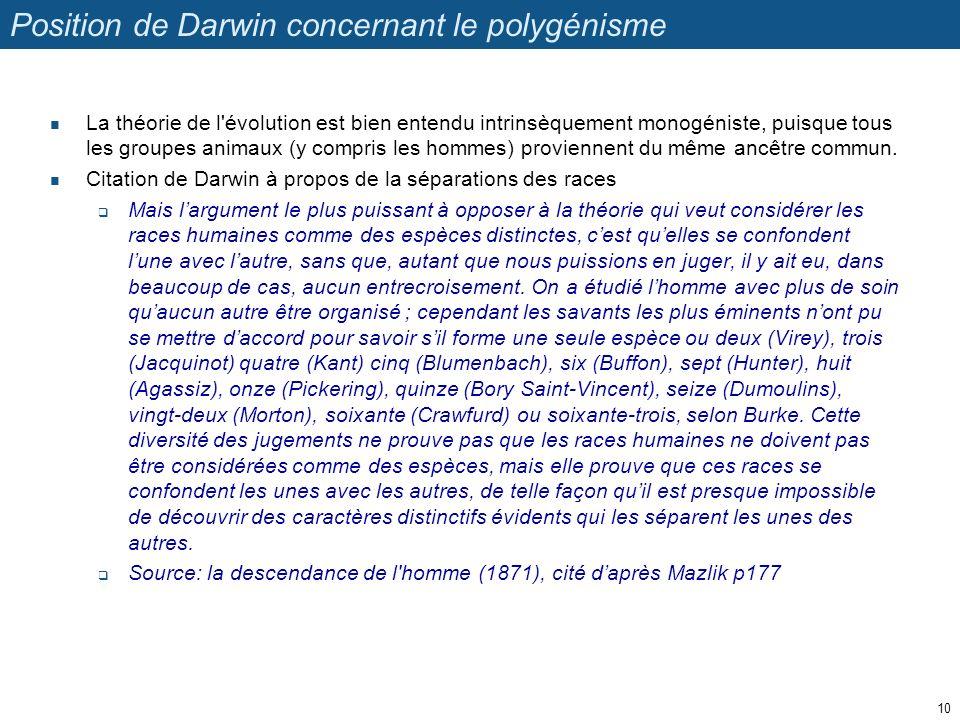 Position de Darwin concernant le polygénisme La théorie de l'évolution est bien entendu intrinsèquement monogéniste, puisque tous les groupes animaux