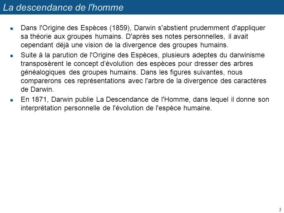 La descendance de l'homme Dans l'Origine des Espèces (1859), Darwin s'abstient prudemment d'appliquer sa théorie aux groupes humains. D'après ses note