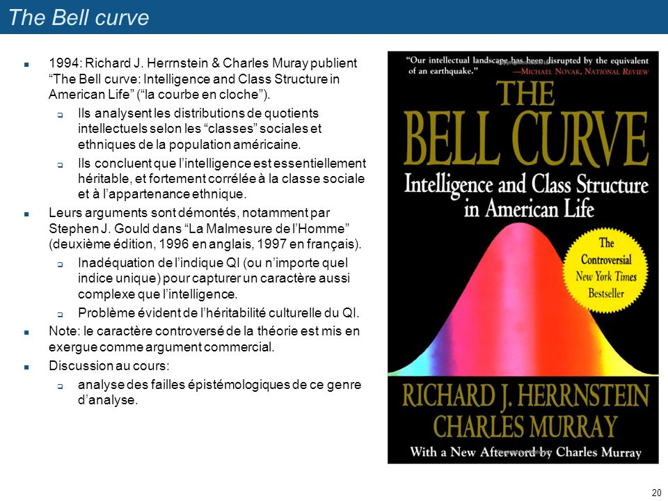 The Bell curve 1994: Richard J. Herrnstein & Charles Muray publientThe Bell curve: Intelligence and Class Structure in American Life (la courbe en clo