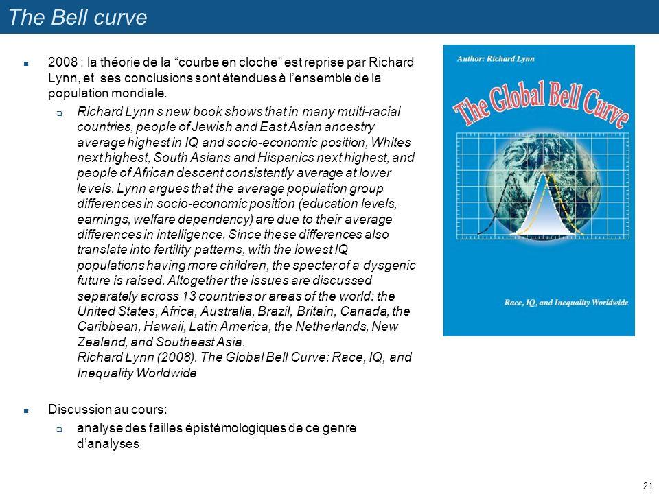 The Bell curve 2008 : la théorie de la courbe en cloche est reprise par Richard Lynn, et ses conclusions sont étendues à lensemble de la population mo