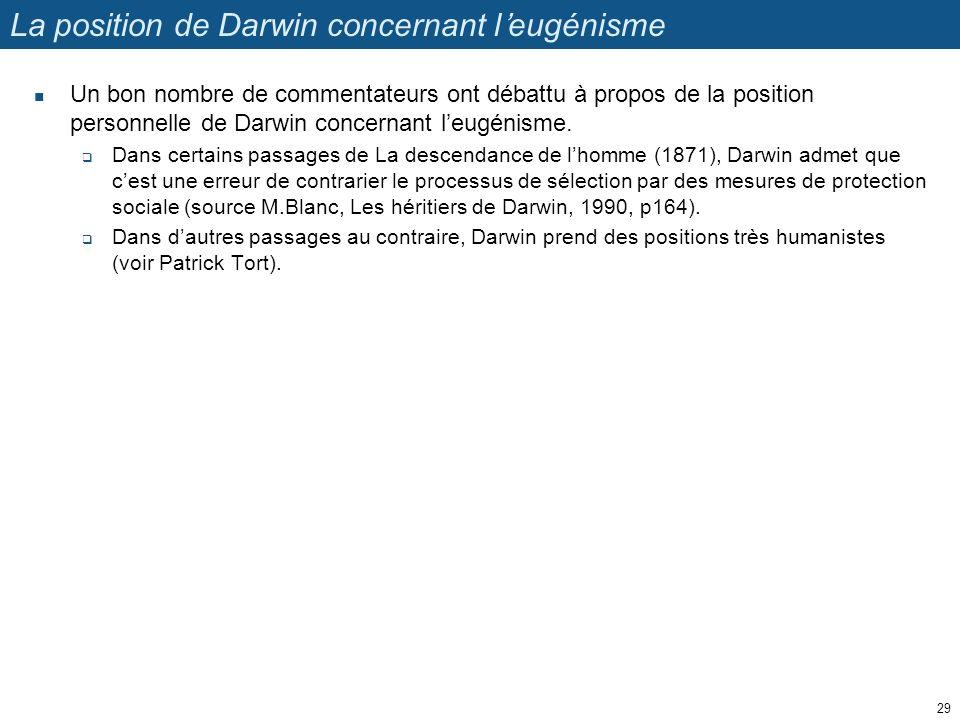 La position de Darwin concernant leugénisme Un bon nombre de commentateurs ont débattu à propos de la position personnelle de Darwin concernant leugén