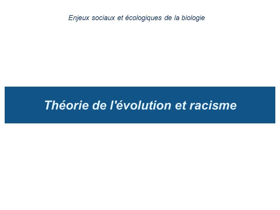 Théorie de l'évolution et racisme Enjeux sociaux et écologiques de la biologie