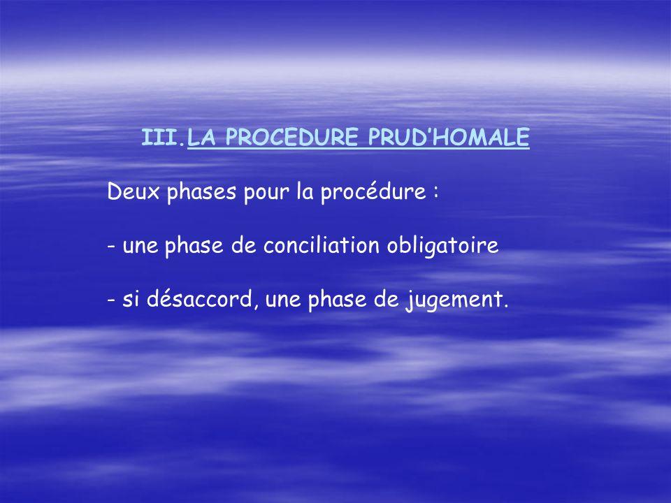 III.LA PROCEDURE PRUDHOMALE Deux phases pour la procédure : - une phase de conciliation obligatoire - si désaccord, une phase de jugement.