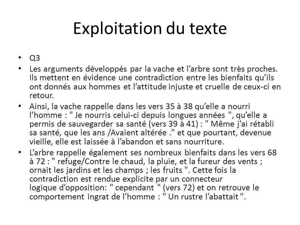 Exploitation du texte Q3 Les arguments développés par la vache et larbre sont très proches.