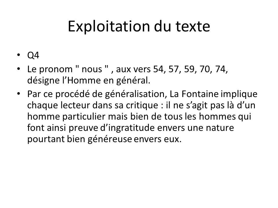 Exploitation du texte Q4 Le pronom nous , aux vers 54, 57, 59, 70, 74, désigne lHomme en général.