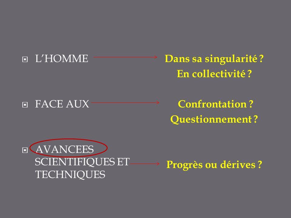 LHOMME FACE AUX AVANCEES SCIENTIFIQUES ET TECHNIQUES Dans sa singularité .