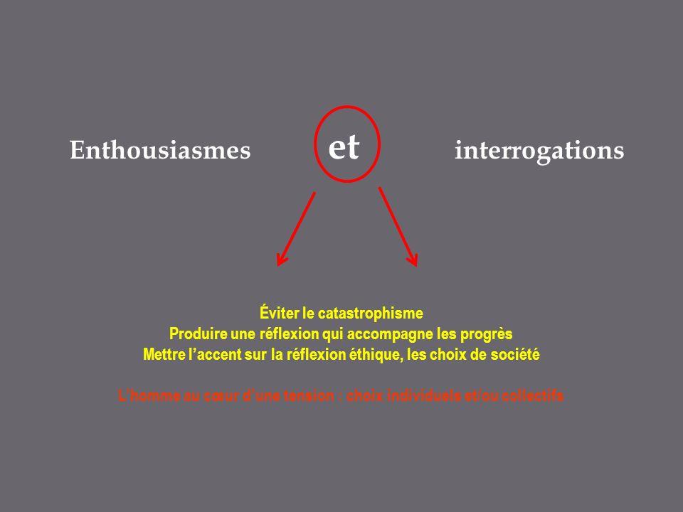 Enthousiasmes et interrogations Éviter le catastrophisme Produire une réflexion qui accompagne les progrès Mettre laccent sur la réflexion éthique, les choix de société Lhomme au cœur dune tension : choix individuels et/ou collectifs