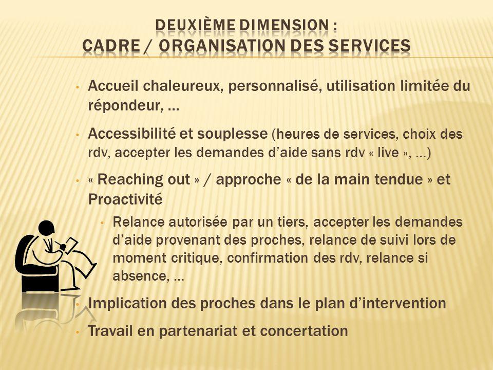Accueil chaleureux, personnalisé, utilisation limitée du répondeur, … Accessibilité et souplesse (heures de services, choix des rdv, accepter les dema