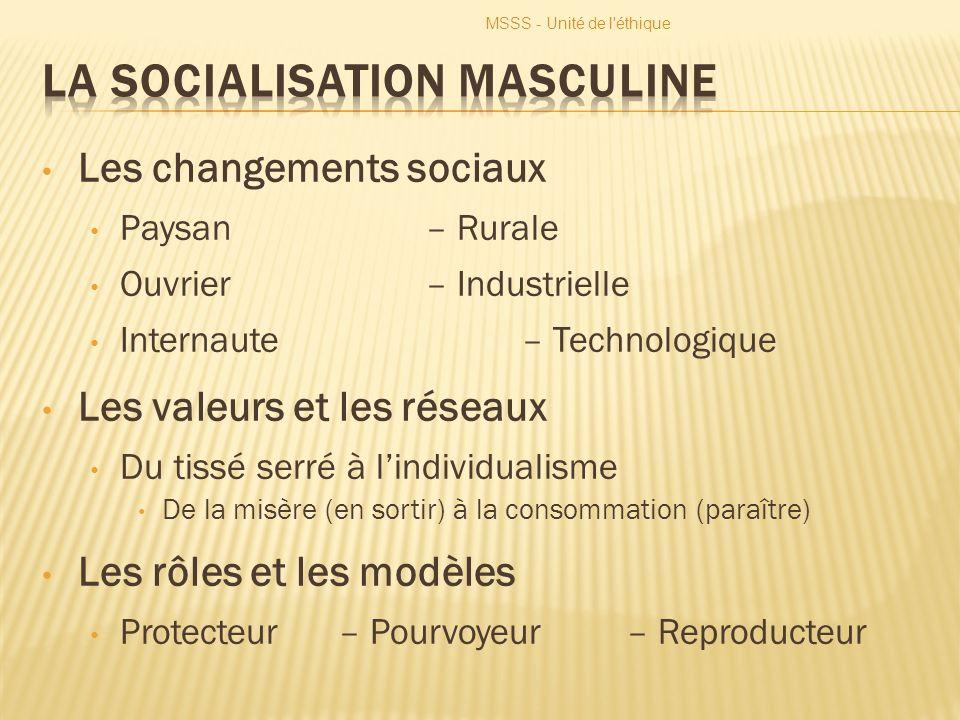 MSSS - Unité de l'éthique Les changements sociaux Paysan– Rurale Ouvrier– Industrielle Internaute– Technologique Les valeurs et les réseaux Du tissé s