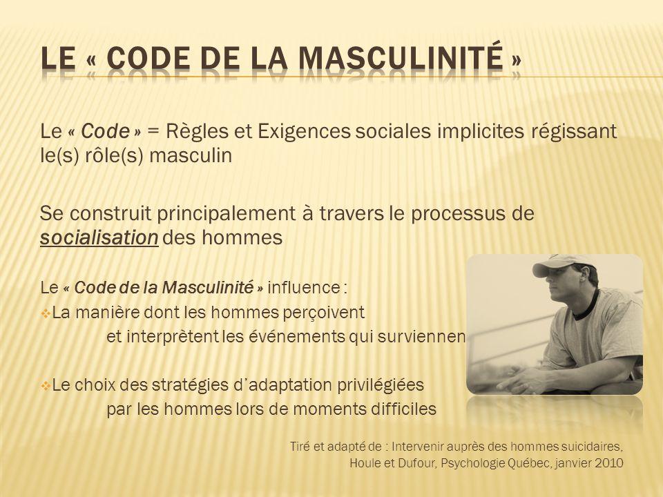 Le « Code » = Règles et Exigences sociales implicites régissant le(s) rôle(s) masculin Se construit principalement à travers le processus de socialisa