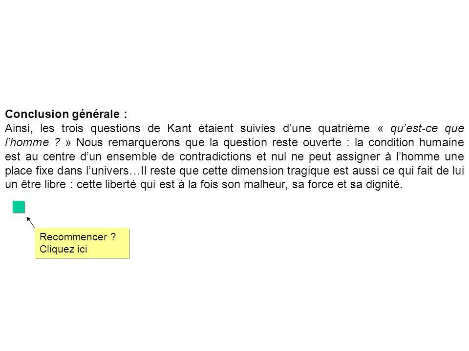 Conclusion générale : Ainsi, les trois questions de Kant étaient suivies dune quatrième « quest-ce que lhomme .