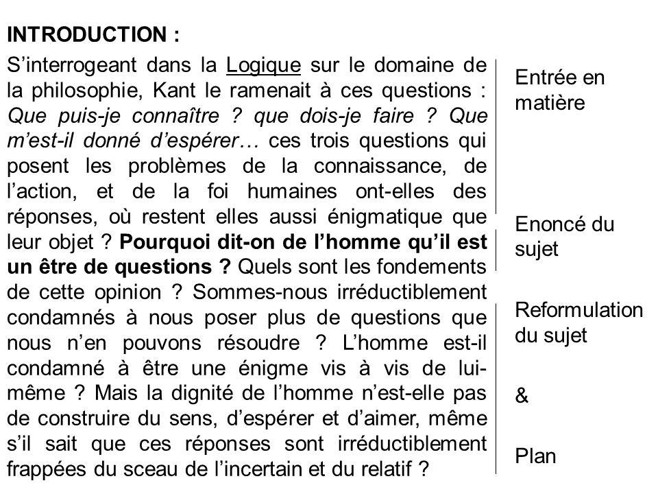 Entrée en matière Enoncé du sujet Reformulation du sujet & Plan INTRODUCTION : Sinterrogeant dans la Logique sur le domaine de la philosophie, Kant le ramenait à ces questions : Que puis-je connaître .