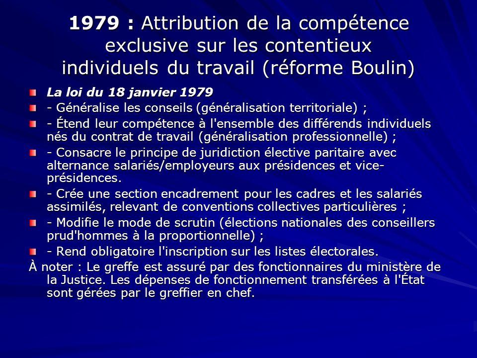 1979 : Attribution de la compétence exclusive sur les contentieux individuels du travail (réforme Boulin) La loi du 18 janvier 1979 - Généralise les c