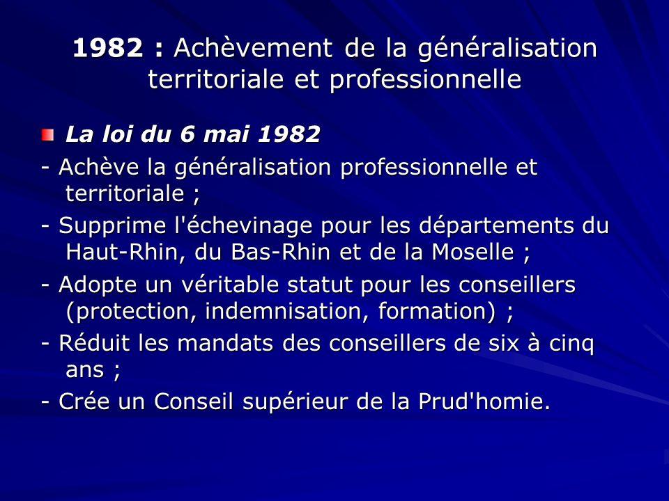 1982 : Achèvement de la généralisation territoriale et professionnelle La loi du 6 mai 1982 - Achève la généralisation professionnelle et territoriale