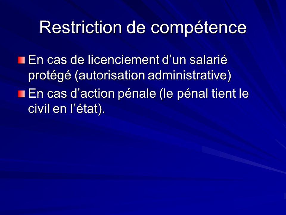 Restriction de compétence En cas de licenciement dun salarié protégé (autorisation administrative) En cas daction pénale (le pénal tient le civil en l