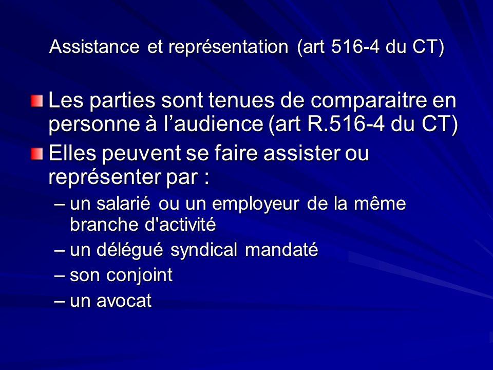 Assistance et représentation (art 516-4 du CT) Les parties sont tenues de comparaitre en personne à laudience (art R.516-4 du CT) Elles peuvent se fai